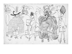 Women dressed in various fanciful outfits. - New Yorker Cartoon Premium Giclee Print by Saul Steinberg at Art.com