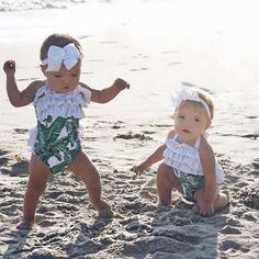 Baby Bikini, Baby Girl Swimsuit, Bikini Set, Cute Twins, Cute Babies, Beach Babies, Twin Baby Girls, Baby Kids, Tatum And Oakley