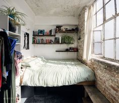 Very tiny bedroom ideas these tiny rooms make designing a college bedroom or studio apartment seem . very tiny bedroom ideas Bedroom Apartment, Home Bedroom, Apartment Living, Apartment Ideas, Bedroom Nook, Apartment Design, Apartment Therapy, Hipster Apartment, Brick Bedroom