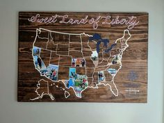Wooden map of the States with photos