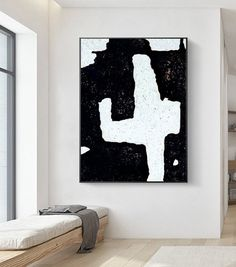 Black And White Painting, Black And White Abstract, White Art, Black White, Minimalist Painting, Minimalist Art, Large Canvas Art, Large Wall Art, Original Art