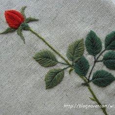 장미 한 송이. . 자수디자인출처ㅡ #소금빛자수  #장미자수 #모사자수실 #자수재료  #embroidery #needlework