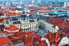 Graz, Austria by Florian Flerlage - I'd love to go back and visit my dear friends there. Places Ive Been, Places To Go, Tilt Shift Photography, Graz Austria, Foto Blog, Croatia Travel, Central Europe, Vacation Destinations, The Good Place