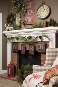 rustic Christmas mantel...would love to switch out our marble for bricks like this!