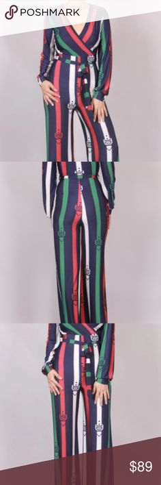Stripe Printed Waist-Tie Wide Leg Jumpsuit This lovely jumpsuit features a stripe printed fabrication, surplice v-neckline, long sleeves, self-tie waist sash, and draped wide legs.  Made in U.S.A.  92% Polyester  8% Spandex Pants Jumpsuits & Rompers