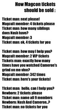 How magcon tickets should be sold. Like, comment request, pin, follow :)