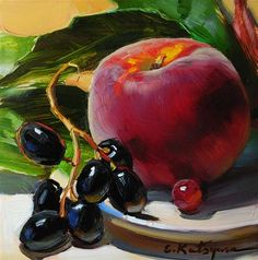 "Daily Paintworks - ""Peach and Black Grapes"" - Original Fine Art for Sale - © Elena Katsyura Black Grapes, Still Life Fruit, Fruit Painting, Fruit Art, Fine Art Gallery, Oeuvre D'art, Art For Sale, Food Art, Bunt"