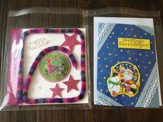 Twee 3D kerstkaarten (links met gepunnikt koort)
