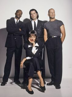 The main cast of Pulp Fiction (1994) by Quentin Tarantino : Uma Thurman, Samuel Lee Jackson, John Travolta and Bruce Willis. Awesome movie.