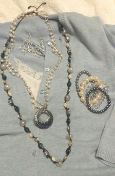 Premier Designs Jewelry!  Chambray necklace, Lady Fair necklace with Double Take reversible enhancer, Poetic and Pearl Soiree bracelets