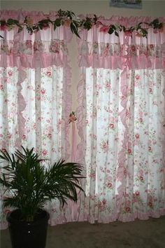 Shabby Chic Curtains Cottage Of Shabby Floral Rose Cottage Chic