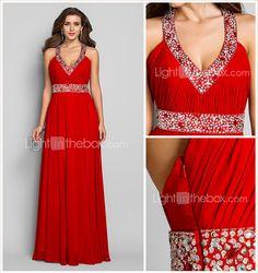 Sheath/Column V-neck Floor-length Chiffon Evening/Prom Dress (590992) - USD $ 79.99