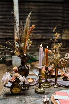 Stick Centerpieces, Candlestick Centerpiece, Wedding Table Centerpieces, Candlesticks, Barn Wedding Venue, Autumn Barn Wedding, Autumn Wedding Ideas, Autumn Wedding Cakes, Wedding Signs