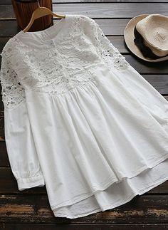 Lace Spliced High Low Smock Dress - White One Size Smock Dress, Blouse Dress, Dress Lace, Blouse Styles, Blouse Designs, Hijab Fashion, Fashion Outfits, Trendy Fashion, Fashion Site