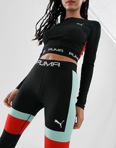 Find the best selection of Puma exclusive to ASOS block high-waisted leggings. Shop today with free delivery and returns (Ts&Cs apply) with ASOS! Crop Top Outfits, Sporty Outfits, Cute Casual Outfits, Hiking Outfits, Sport Fashion, Fitness Fashion, Fashion Fashion, Puma Outfit, Style Sportif