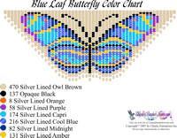 Dainty Blue Leaf Butterfly Fringe Necklace Printable Bead Graph for Beading