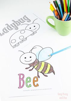 These are so adorable! 10 free bug coloring pages.