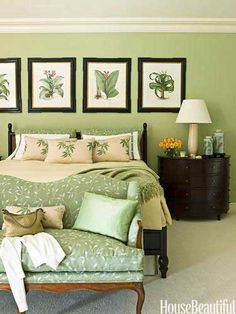"Traditional Green Bedroom  i love green  Traditional Green Bedroom  In the master bedroom of this Palm Beach home by designer Allison Paladino, a bed from Drexel Heritage's Postobello collection and nightstands by Thomas Pheasant for Baker are ""rich and elegant"" against walls painted Benjamin Moore's Mesquite. Settee is covered in Cowtan & Tout's Trailing Leaf Linen."