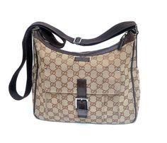 Auth Gucci GG Monogram Logo Canvas Cross-body Bag #Gucci #MessengerCrossBody
