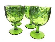 Green Glass Goblets Dessert Bowls Grape Pattern by worldvintage