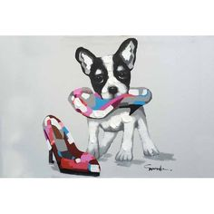 """A playful pop art pup and his owner's pretty pink heels. Oil painting on canvas, each painting can vary slightly. Painting includes frame and measures 32""""x44"""""""
