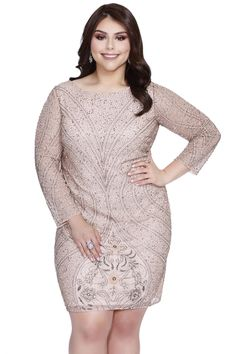 Reveal the beauty in you in Kurves By Kimi. This short beaded plus size cocktail dress will hug your curves in all the right places. Sleeves are sheer with beading, the three-quarter length allows for a elegant look. The entire dress is accented with dazzling beads that is sure to make you the center of attention at any event. Fully lined with a back zipper allowing for a smooth sleek look to flatter all women of plus size. Model is 5'9 wearing size 16W