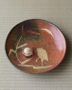 菓=水面の月/源水(京都) 器=赤楽鷺文鉢 樂宗入作 十代旦入所持 江戸時代