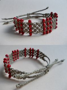 I used only wooden beads and linen twine. The length is adjustable from 14 cm to 27 cm. (5.5 - 10.6 in) It's 2 cm wide. (0.8 in)