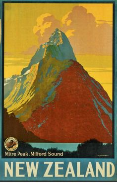 Vintage New Zealand Travel Ads Poster Giclee Art Print Mounted Canvas Options    **Please note: additional images are shown as an example of the