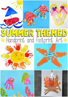 Summer Themed Handprint and Footprint Art - Easy Peasy and Fun-- Could also use the handprint sun for a first week of summer class handprint collage Toddler Art, Toddler Crafts, Crafts For Kids, Arts And Crafts, Summer Kid Crafts, Quick Crafts, Daycare Crafts, Baby Crafts, Daycare Rooms