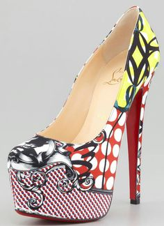 Christian Louboutin Daffodile Multi-Print Platform Red Sole Pump - Just. too amazing. Stilettos, Pumps Heels, High Heels, Louboutin Pumps, Fur Heels, Crazy Shoes, Me Too Shoes, Cheap Christian Louboutin, Red Sole