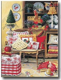 chickens, checks and toile - Country French These are the colors I envision!