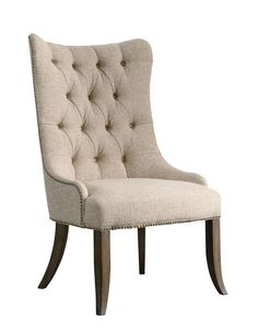 Cream Upholstered Button Tufted Wing Back Accent Host Chair #Traditional #DiningChair