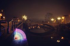 Creating rainbows at night with my DIY pixelstick. 🌈  #rainbow #bridge #photography #longexposure_shots #tech #lighttrail #pixelstick #bestnightpix  ##cool #night #gentverlicht #9000 #negenduust
