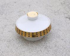GOLDEN BOWL Art Deco Porcelain Black Dots Royal Dux Sugar Mid Century Decoration Vintage White Porcelain Glazed Top Bottom