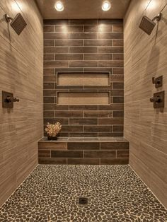 Contemporary 3/4 Bathroom with Parkwood Beige 7 in. x 20 in. Ceramic Floor and Wall Tile, limestone floors, Square Showerhead