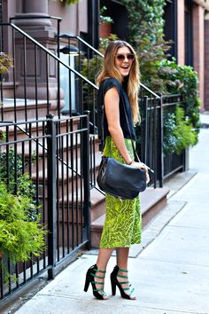 New York City Fashion and Personal Style Blog: Cropped tee, neon midi skirt, ankle strap sandals