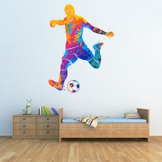 Transform a childs bedroom into a football themed room with this football wall decal sticker from Icon Wall Stickers! This brightly coloured wall sticker is available in 8 sizes.   #footballwallsticker #personalisedfootballwallsticker #footballwalldecal #footballthemedbedroom #footballbedroomideas #iconwallstickers Football Theme Bedroom, Football Rooms, Football Wall, Football Themes, Boys Bedroom Decor, Bedroom Themes, Football Stickers, Bedroom Ideas, Boys Wall Stickers