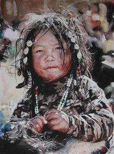 """이샤【אישה】 on Twitter: """"Liu Yun-sheng. (刘云生. Chinese, 1937~) 리우 윤솅, 중국 출신 수채화가. 그의 그림 속 소수민족 아이들. 눈동자를 더럽힐 수 있는 것은 오직 마음 뿐. http://t.co/ilRvXYskMq"""""""