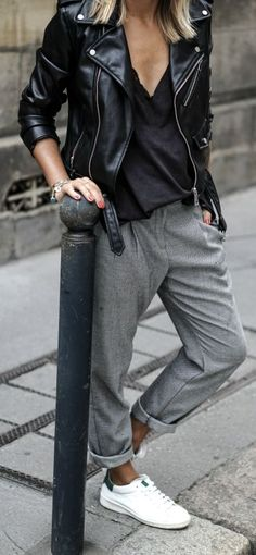 Camille Callen looks effortlessly chic in grey slacks and fresh white sneakers; the ultimate tomboy look. Top; Zara, Trousers; Mango. #style