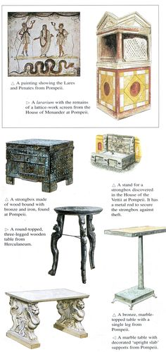 This is an awesome diagram of pieces you may find in a Roman home! Examples of Roman furniture from a Roman house Ancient Roman Houses, Ancient Rome, Ancient History, Art Romain, Empire Romain, Pompeii And Herculaneum, Roman Fashion, Roman History, Roman Art
