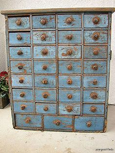 antique blue apothecary chest