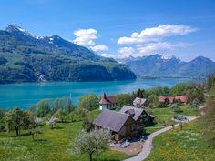 Kapelle Betlis mit Sicht auf den Walensee Black Forest, Nature Animals, Nature Pictures, How Beautiful, Switzerland, Germany, Mountains, Travel, Tourism