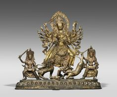 Title: Durga Mahishasuramardini Artist: Artist/maker unknown Geography: Made in Nepal, Asia Date: 18th century Medium: Gilded copper alloy Classification: Sculpture Dimensions: 18 3/4 x 20 1/2 x 7 1/2 inches (47.6 x 52.1 x 19.1 cm) Curatorial Department: South Asian Art Credit Line: Purchased with the Stella Kramrisch Fund for Indian and Himalayan Art, 2012