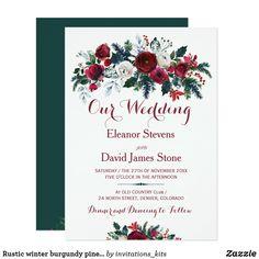 Rustic winter burgundy pine green floral wedding card