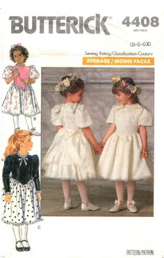1980s Girls Dress PATTERN Butterick 4408 for Easter a Wedding Christmas fitted shaped bodice flared skirt back zip puff sleeves bows sz 5 by BlondiesSpot2 on Etsy