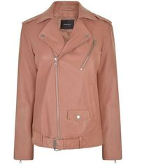 Theory Tralsmin Leather Biker Jacket ($1,365) ❤ liked on Polyvore featuring outerwear, jackets, pink rose, pink jacket, beige moto jacket, motorcycle jacket, moto biker jacket and belted leather jacket