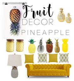 """P I N E A P P L E"" by queenlies ❤ liked on Polyvore featuring interior, interiors, interior design, home, home decor, interior decorating, La Pina, Pier 1 Imports, Joybird Furniture and Vivaraise"