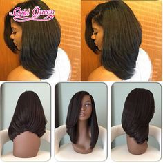 New layer bob hairstyle glueless full lace wigs Brazilian virgin hair lace front wigs side part with baby hair human hair wigs