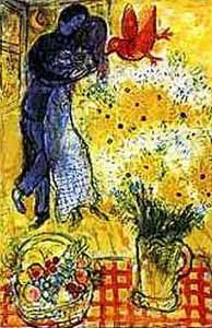 Marc Chagall's Painting Lovers and Flowers. I love Chagall's use of color, the movement and dreamlike quality of his work.  Chagall brought emotion, movement and music into his work.